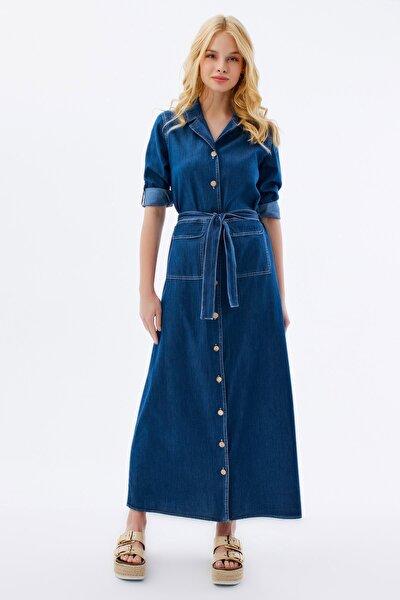 Kadın Düğme Detaylı Uzun Kot Elbise Y20s110-1932