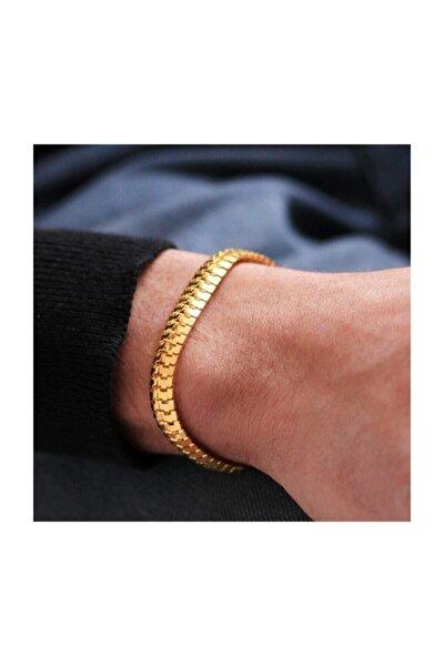 Gold Erkek Künye Bileklik Yassı Birbirine Geçmeli Model