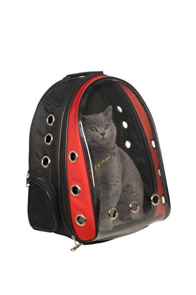 Şeffaf Astronot Kırılmaz Kedi Köpek Taşıma Çantası 42 X 22 X 33 Cm Kırmızı