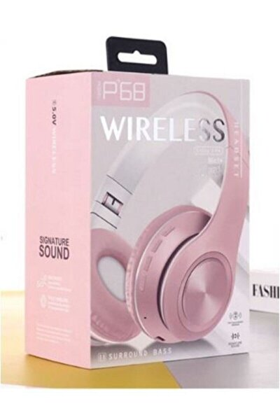 P68 Bluetooth Kablosuz Stereo Kulaklık (PEMBE)