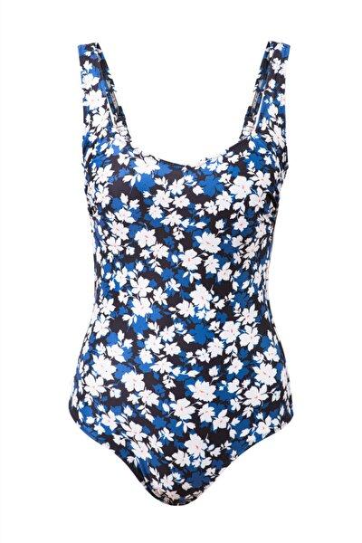 Kadın Mavi Çiçek Desenli Siena Minimizer Toparlayıcı Büyük Beden Mayo