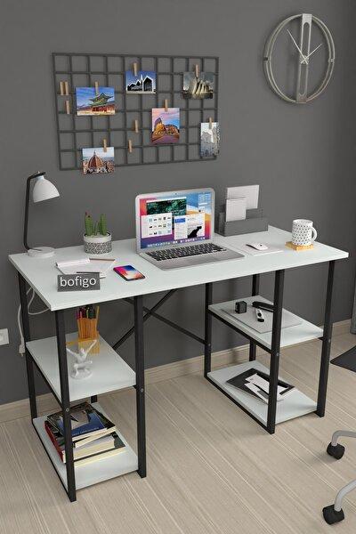 60X120 cm 4 Raflı Çalışma Masası Laptop Bilgisayar Masası Ofis Ders Yemek Cocuk Masası Beyaz