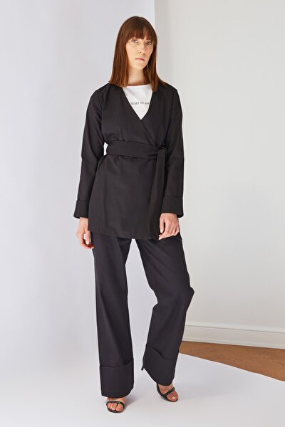 Siyah Yüksek Bel Tesettür Pantolon TCTSS21PL0621
