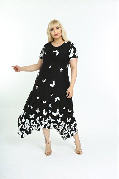 Kadın Kısa Kol Asimetrik Etek Yazlık Penye Viskon Elbise