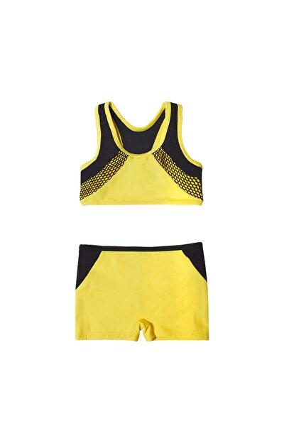 Kız Çocuk Sarı File Detaylı  Şortlu Bikini Takımı