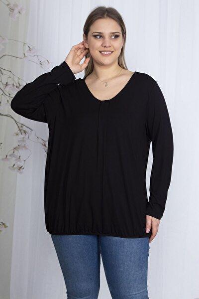Kadın Siyah Etek Ucu Lastikli Yaka Pile Detaylı Uzun Kollu Bluz 65N23582