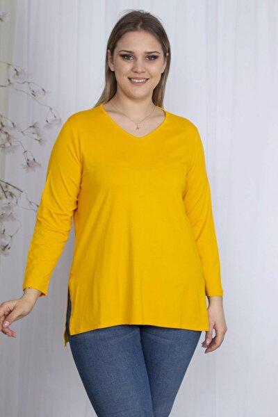 Kadın Sarı V Yakalı Yan Yırtmaçlı Bluz 65N23627