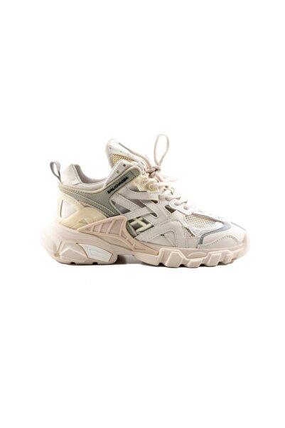 Kadın Bej Bağcıklı Sneaker -311