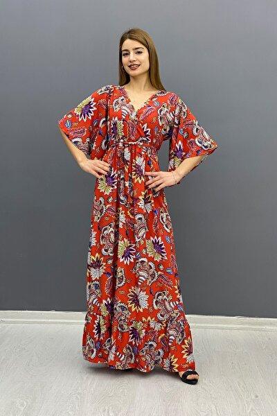 Kadın Kiremit Zambak Desen Çicek Elbise