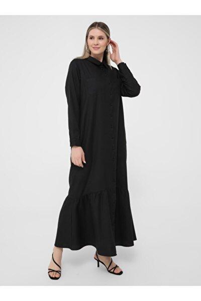 Büyük Beden Boydan Düğmeli Elbise - Siyah -