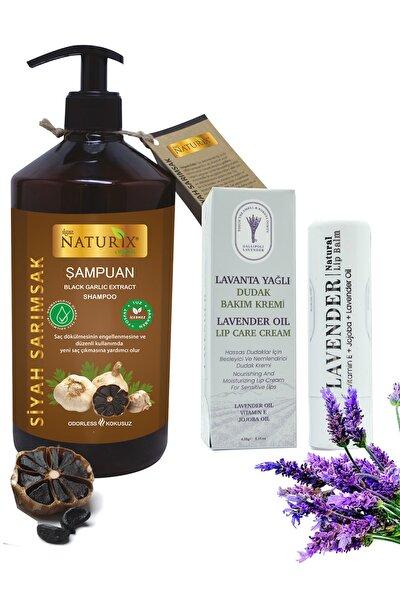 Tuzsuz Siyah Sarımsak Şampuanı 600ml Saç Dökülme Önleyici Şampuan + Lavanta Yağlı Dudak Bakım Kremi