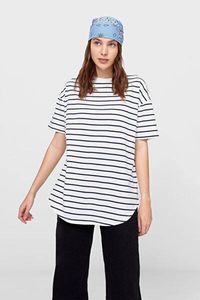 Kadın Uzun Çizgili Basic T-shirt