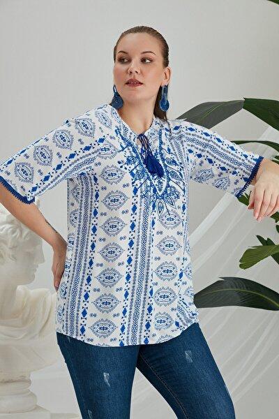 Kadın  Etnik Desenli Nakış Işlemeli Büyük Beden Saks Bluz