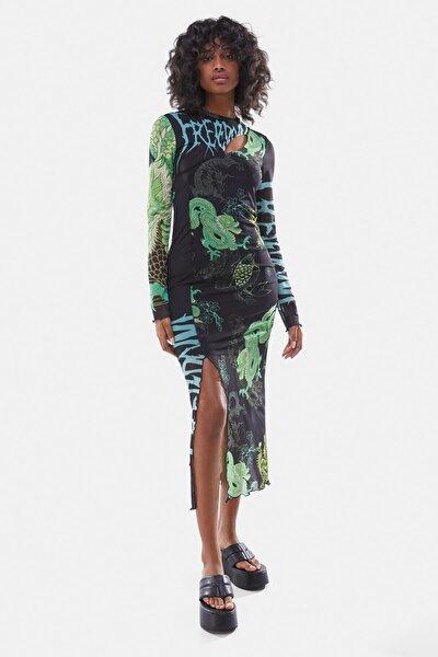 Kadın Siyah Ejderha Desenli Fileli Elbise