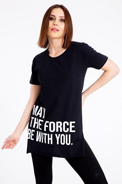 May The Force Baskılı Siyah T-shirt 1074