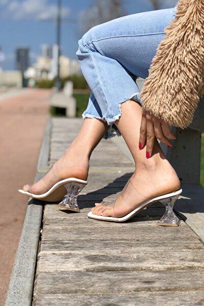 Kadın Beyaz Cilt Şeffaf Topuklu Ayakkabı