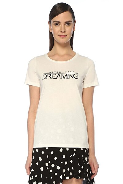 Never Stop Dreaming Beyaz Taş Baskılı T-shirt