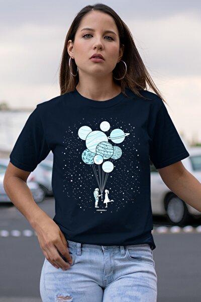 Balon Gezegenler Lacivert Kısa Kollu Kadın T-shirt