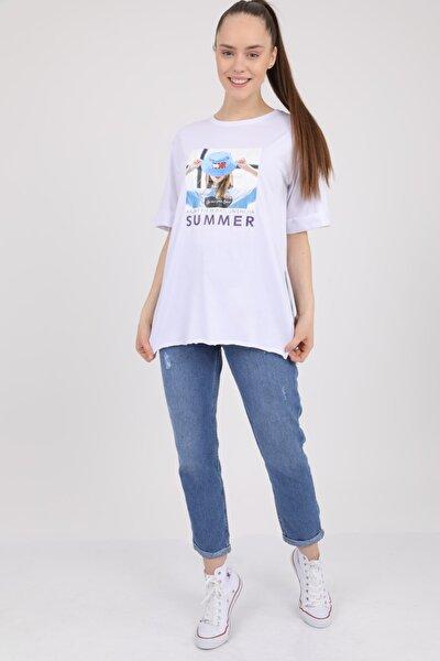 Kadın Beyaz Baskılı Bisiklet Yaka Yırtmaçlı T-Shirt Mdt2977