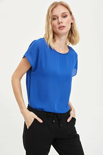 Kadın Mavi Krep Bluz G6035AZ.20SP.BE46
