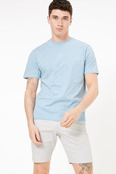 Erkek Mavi Saf Pamuklu Yuvarlak Yaka T-shirt T28005311M