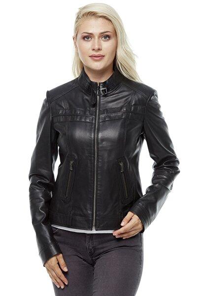 Kadın Siyah Deri Ceket 3216
