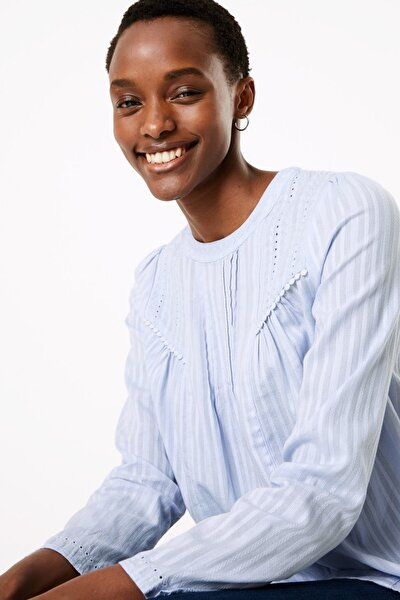 Kadın Mavi Çizgili Saf Pamuklu Bluz T43002314