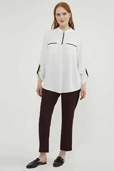 Kadın Büyük Beden Çizgili Bluz 20Y027800152-001