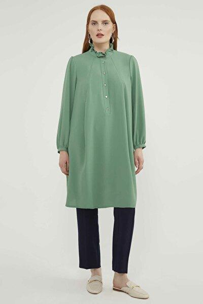 Kadın Büyük Beden Yeşil Tunik 20Y158980142-005