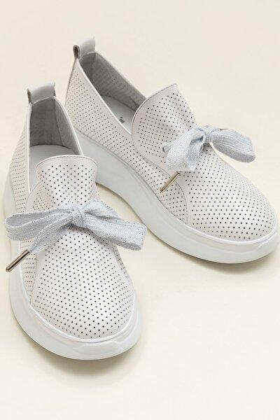 EMELY Hakiki Deri Beyaz Kadın Ayakkabı