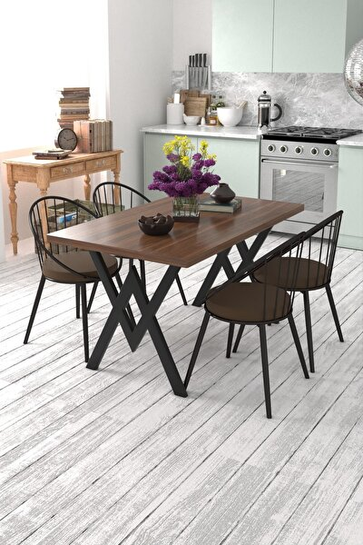 Eylül 4 Kişilik Mutfak Masası Takımı Ceviz Kahverengi