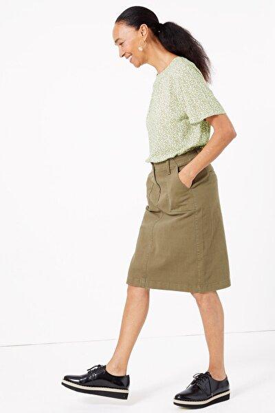 Kadın Yeşil Desenli Kısa Kollu Bluz T43002600