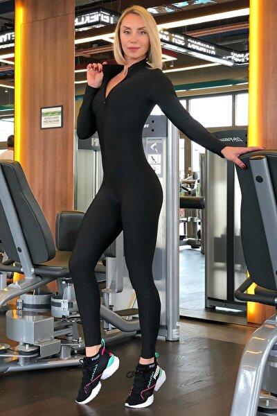 Kadın Siyah Uzun Kollu Full Likralı Spor Tulum(1 Renk) Stk127