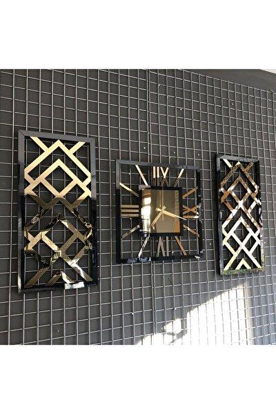 Aynalı Siyah Gold Renk Duvar Saati 3'lü