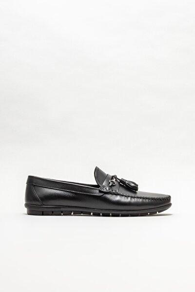 Erkek Siyah Deri Günlük Loafer Ayakkabı