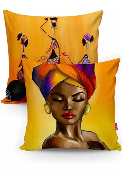 Afrika Figürlü Dekoratif 2 Li Kırlent Seti Içi Dolgulu Yastık 43x43 Cm. Tk690
