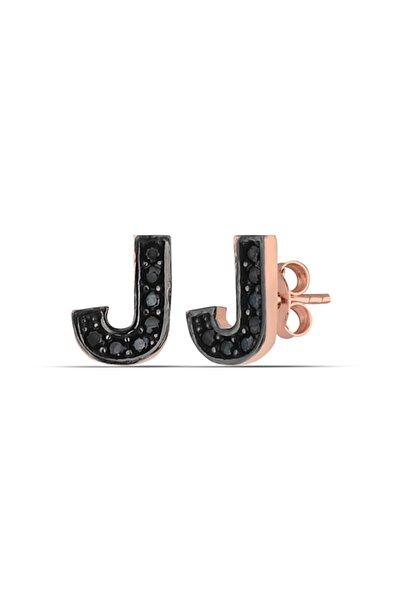 J Harfi Siyah Taşlı Gümüş Küpe Kadın Rose