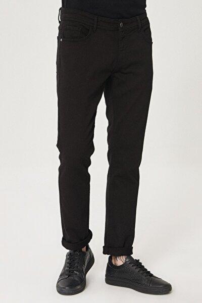 Erkek Siyah Slim Fit Dar Kesim Örme Denim Esnek Jean Kot Pantolon