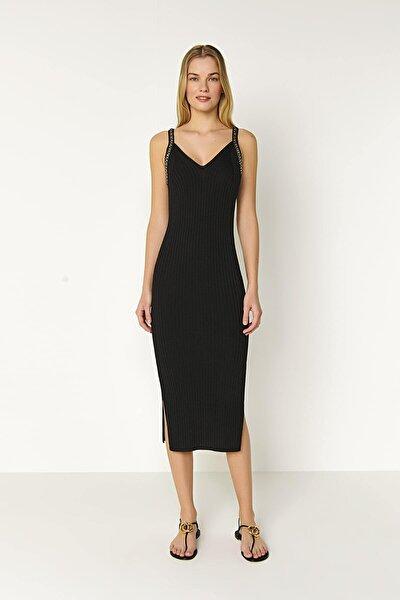 Askılı Zincir Detaylı Triko Elbise-siyah