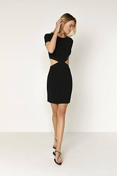 Yarım Kol Bel Detaylı Triko Elbise-siyah