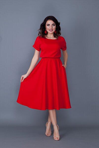 Kırmızı Midi Boy Beli Lastikli Elbise