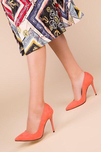 Turuncu Süet Kadın Klasik Topuklu Ayakkabı 14315