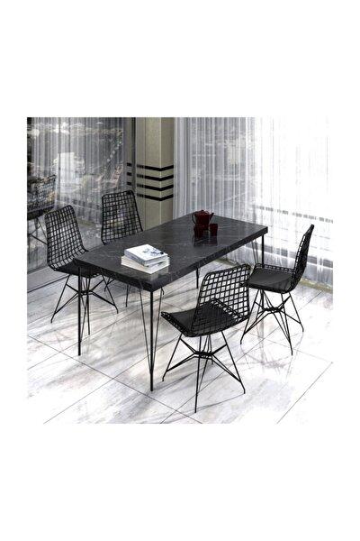Mutfak Yemek Masa Takımı Mermer Desencafe Masası 4 Adet Tel Sandalye 1 Adet Masa