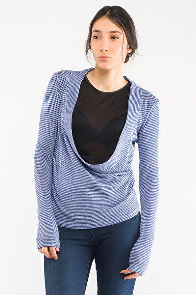 Vr017 Kadın Bluz Mavi