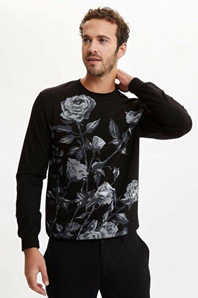 Erkek Siyah Çiçek Baskılı Slim Fit Sweatshirt R3346AZ.20SP.BK27