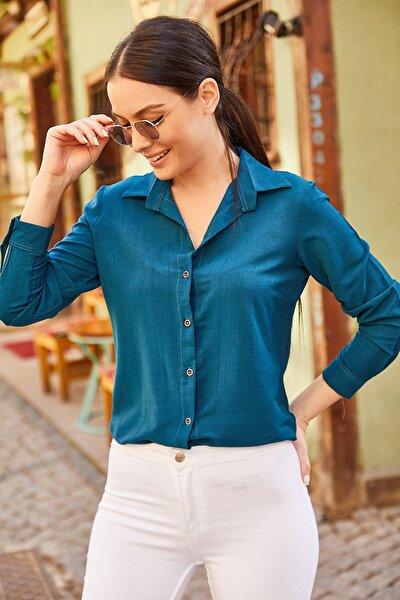 Kadın Mavi Uzun Kollu Düz Gömlek ARM-19K001200