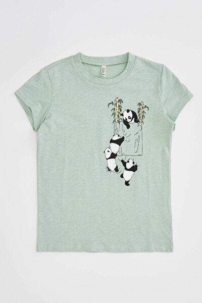 Panda Baskılı Kısa Kollu T-shirt
