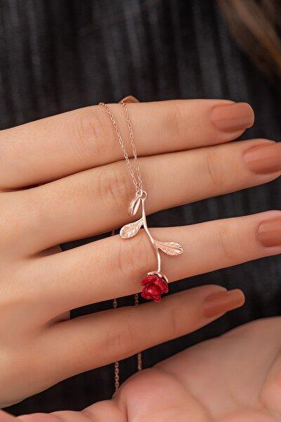 925 Ayar Rose Kırmızı Gül Kolye Kadın Gümüş Kolye
