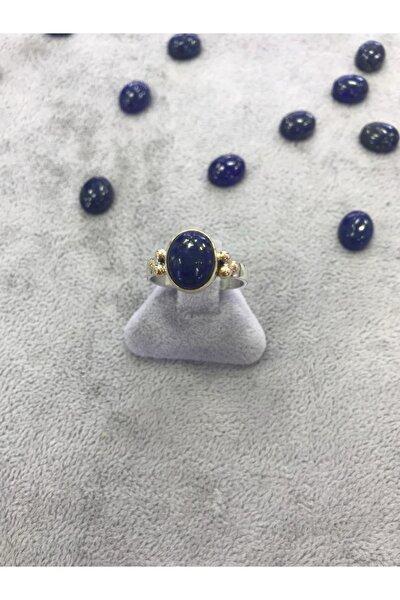 Gümüş Lapis  Lazuli Taşlı  Yüzük 925 Ayar