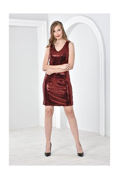 V Yaka Kolsuz Parlak Nokta Baskılı Elbise Kırmızı